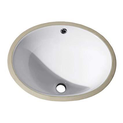 Lottare 800111 Oval Porcelain Under Mount Bathroom Sink white